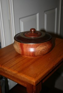 Lidded box. This was the start of my experimentation with metal inclusions. Carob, Jarrah, Sheoak and Brass.