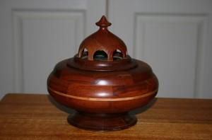 Lidded box with glass insert. Jarrah, Jacaranda and Sheoak.