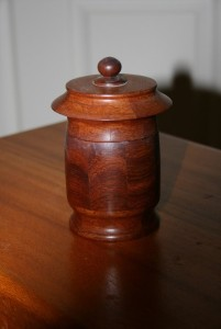 Small Jewellery box. Made from segmented Jarrah. Features a ring tray inside.