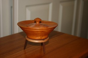 Small lidded box on a stand. Silky Oak, Turpentine and Jarrah.