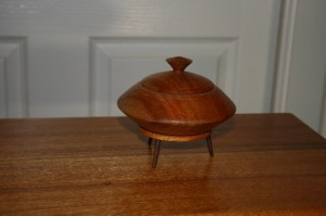 Small lidded box on stand. Silky Oak and Jarrah.