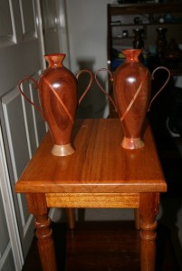 Matching vases. Second prize masters competition. Jarrah and Carob